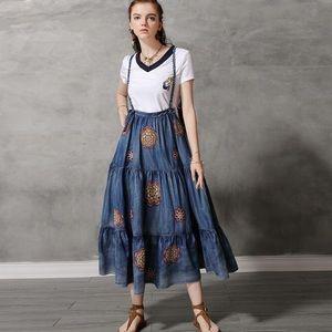 Blue long wide bottom strap body shape dress